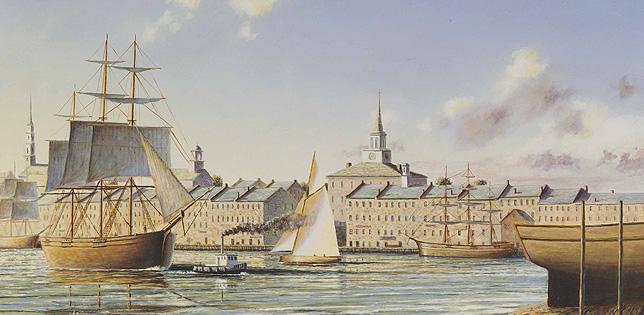 Savannah Georgia circa 1800: Historical Maritime Painting by Christopher James Ward
