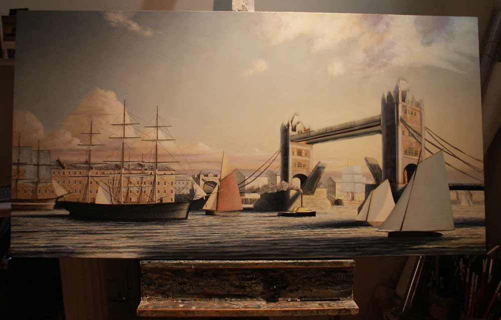 London, Historical Maritime Painting by Christopher James Ward